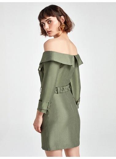 Nocturne Kayık Yaka Mini Elbise Haki